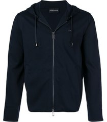 emporio armani basic hooded jacket - blue