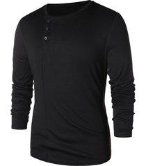 asymmetric half button long sleeve t-shirt
