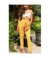trendy zomer broek met polka stippen mosterdgeel