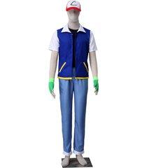 pokemon ash ketchum cosplay costume hat hoodie gloves 1st generation