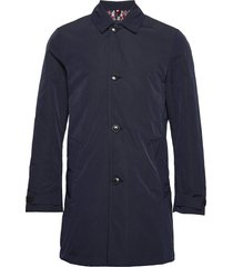 memory nylon carcoat dunne lange jas blauw tommy hilfiger tailored
