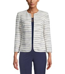 anne klein striped zip-front jacket