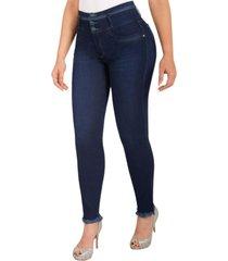 jeans colombiano control de abdomen fl azul new rodivan