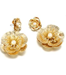 orecchini fiore d'oro di lusso perline d'epoca grandi orecchini pendenti per le donne