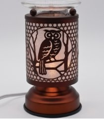 copper owl touch lamp oil/tart warmer - use with scentsy & yankee candle wax