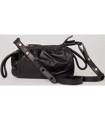 bolsa de couro franzido color preto