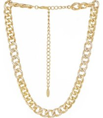 ettika bold and gold plated crystal link chain necklace