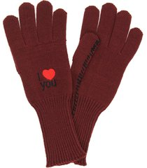 raf simons wool gloves i love you