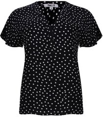 blusa con pechera corta color negro, talla 10