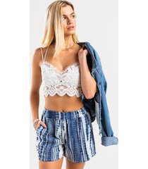kristin scalloped lace bralette - white
