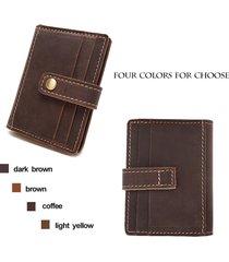 genuine vintage leather unisex gender billfold card holder hasp button 4 colors