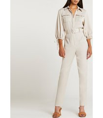 river island womens beige belted jumpsuit