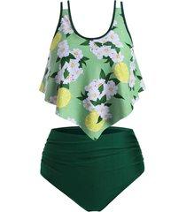 lemon floral flounce plus size ruched tankini swimsuit