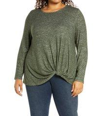 plus size women's bobeau scoop neck front twist top, size 3x - green
