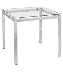 mesa de jantar retangular com tampo de vidro tube cromada 80 cm
