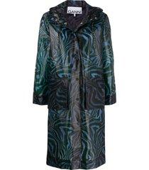 ganni swirl tiger-print coat - blue