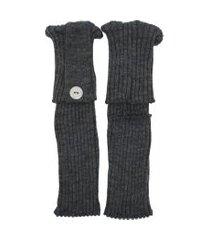 polaina ayron fitness max lã com botão cinza escuro