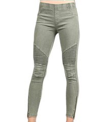 beulah women's moto zipper jeggings olive (small)