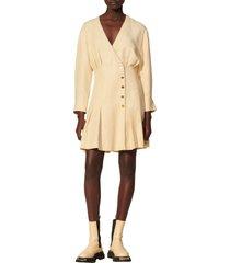 women's sandro pleated long sleeve dress, size 10 us - beige