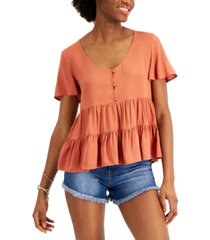 love, fire juniors' babydoll tiered top
