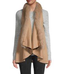 adrienne landau women's dyed fox vest - camel