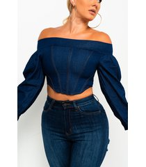 akira it was all a dream off the shoulder denim zip up blouse
