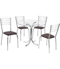conjunto mesa e 4 cadeiras fil renata, tabaco - 191139