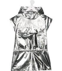 andorine metallic-tone hooded cape - silver