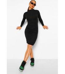 geribbelde midi jurk met hoge hals en naaddetail, zwart