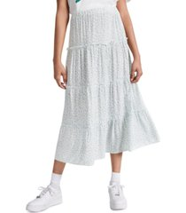 indigo rein juniors' floral-print tiered skirt