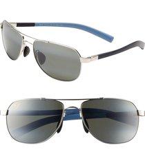 maui jim maui flex polarizedplus(r)2 56mm aviator sunglasses in silver/blue/light blue at nordstrom