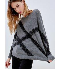 motivi maglia over in filato misto seta cashmere donna grigio
