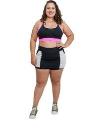 shorts saia fitness corpusfit life com bolso plus size - preto e branco - branco/preto - feminino - dafiti