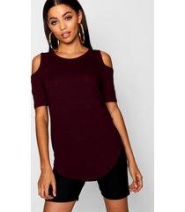 basic cold shoulder curved hem t-shirt, berry