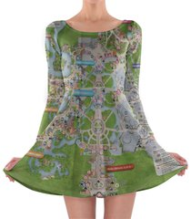 magic kingdom map disney longsleeve skater dress