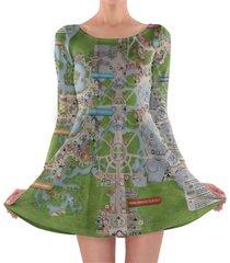 magic kingdom map disney longsleeve skater dress