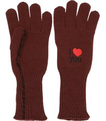 raf simons i love you embroidered gloves