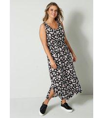 jersey jurk janet & joyce zwart::wit::koraal