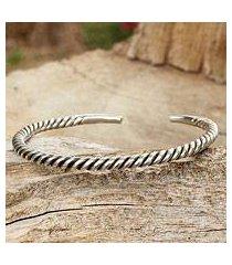 men's sterling silver cuff bracelet, 'thai swirl' (thailand)