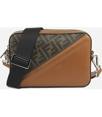 fendi shoulder bag with fabric insert with ff motif