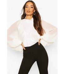 blouse met extreme vleermuismouwen, wit
