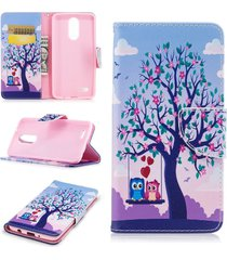 lg k8 2017 case,lg lv3 case,xyx [owl lovers][double sided design] pu leather wal