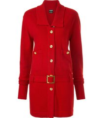 chanel pre-owned cashmere belted slim jacket - red