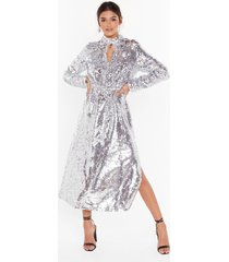 womens head to toe icon sequin maxi dress - silver