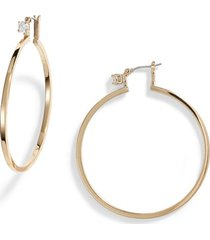 women's vince camuto crystal stud large hoop earrings