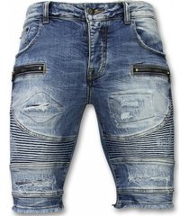 enos korte broeken slim fit ripped biker shorts