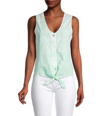 saks fifth avenue women's button tie-front tank top - white green combo - size xs