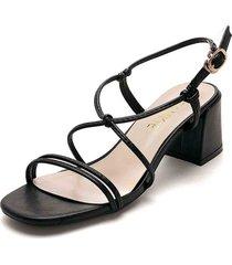 sandalia de tiras delgadas y tacón ancho en negro - makena - frankie