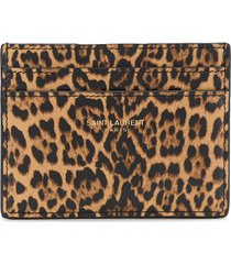 saint laurent leopard print leather wallet - brown