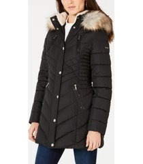 laundry by shelli segal cinched faux-fur trim hooded puffer coat